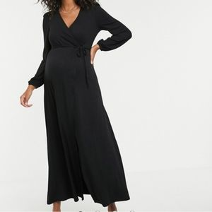 ASOS New Maternity puff sleeve wrap maxi dress